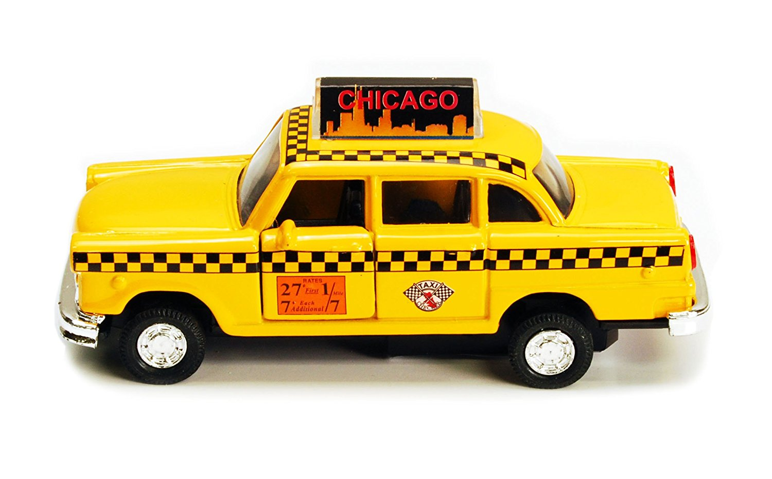 Chicago Illinois Old Yellow Checker Taxi Cab 1:32 Scale Diecast Metal