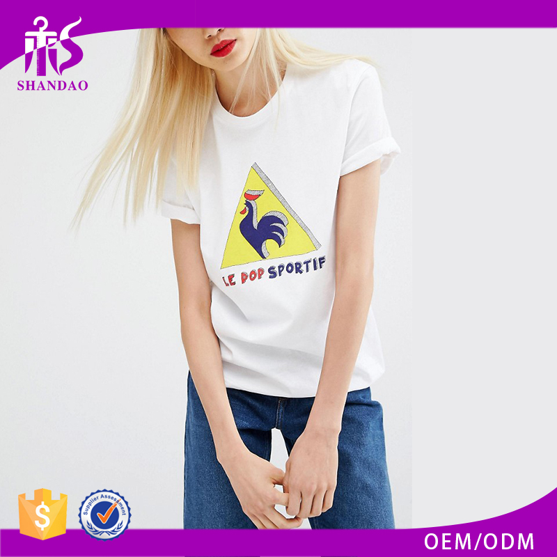 Custom Guangzhou Shandao Printing Short Sleeve O-Neck Casual White Color 180gsm 100% Cotton Wholesale Women Baseball T Shirt
