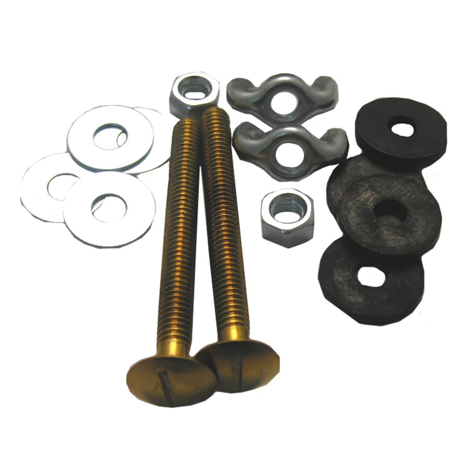 LASCO 04-3671 Toilet Tank to Bowl Solid Brass Bolts 5/16-Inch by 3-Inch with Rubber and Metal Round Washers and Wing and Hex Nuts