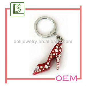OEM metal key chain parts with mini high-heeled shoes