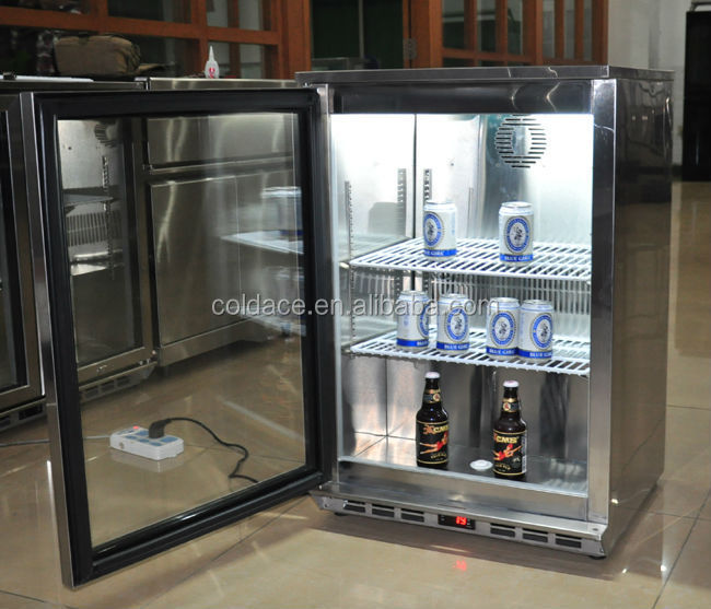 Stainless steel portable refrigerated display cooler used in club