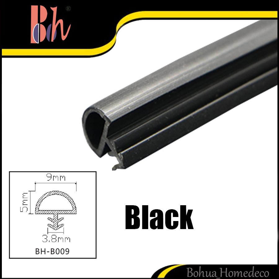 Goma negro PVC tira de sellado de puerta de madera ranura puerta ...