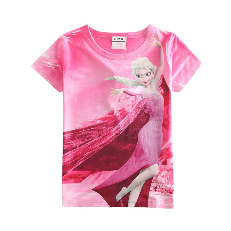 summer style children t shirts girls clothing elsa t shirts painted novelty summer style kids clothes girls t shirts K5248Y