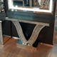 Sparkly crushed diamond V shaped mirrored console table