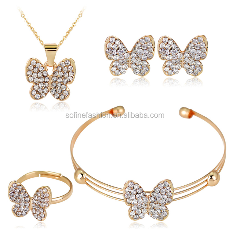 Fashion Crystal Butterfly Necklace Bracelet Ring Bracelet Jewelry Set