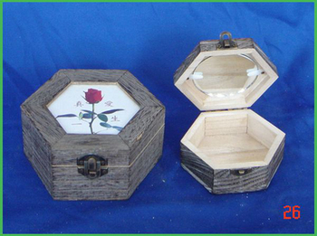 chinese antique wood ivory jewelry box