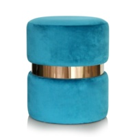 Round Blue Ottoman Velvet Stool With Gold Accessories