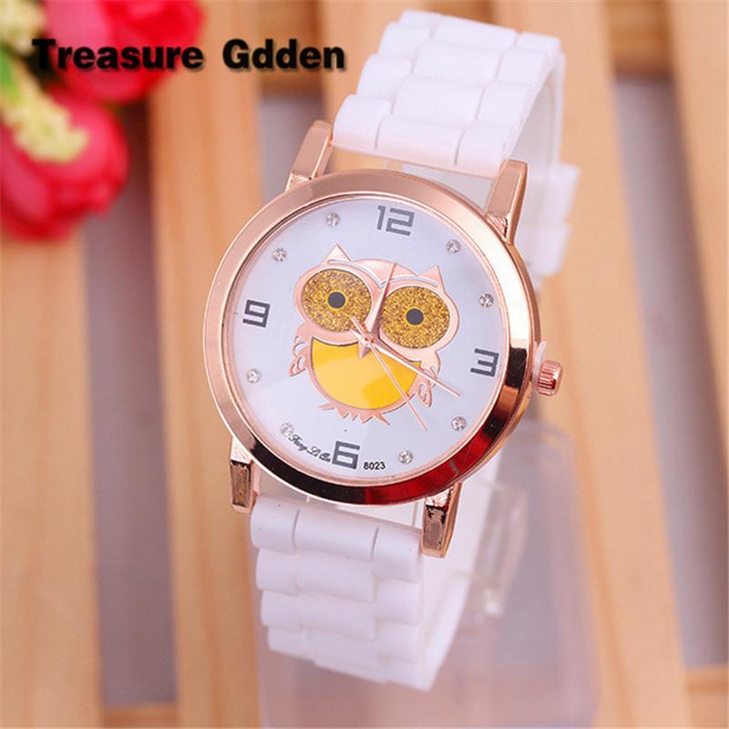 2016 Fashion Wristwatches Brand Gold Dial Cute Owl Men Women Watch Silicone Quartz Casual Dress Watches Kids Wristwatches