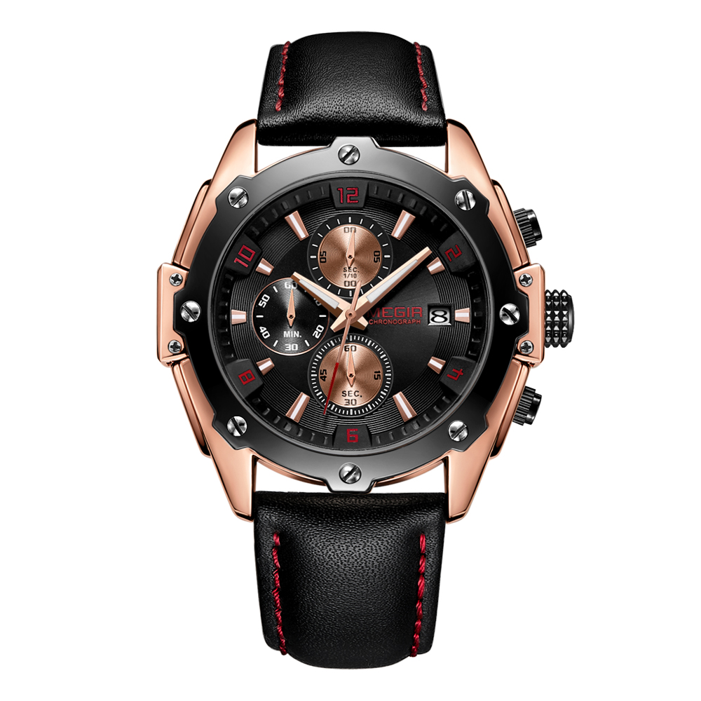 Factory OEM Wristwatch Casual Fashion Mens Chronograph Wrist Watch With Genuine Leather фото
