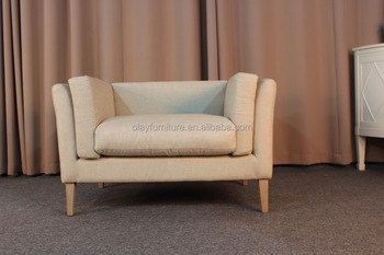 French Country Style Classic Single Sofa Ancient Fabric Linen Sofa Living  Room Single Sofa Chair