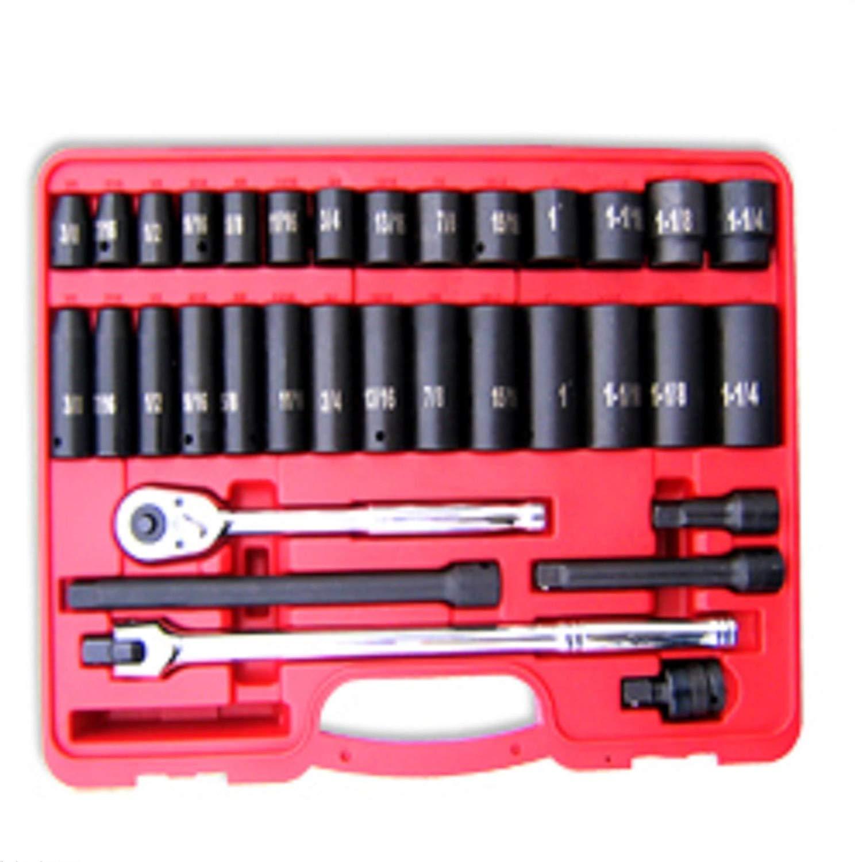 "ESKALEX>> 34 pc 1/2"" Dr. Hi-Viz Impact Socket Set Metric and 34pc 1/2"" Dr. Hi-Viz Impact Socket"" Accessory Set, MM"