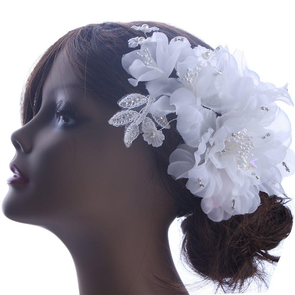 Buy Kimmyku Beautiful Fashion Big White Bridal Hair Flower Clip