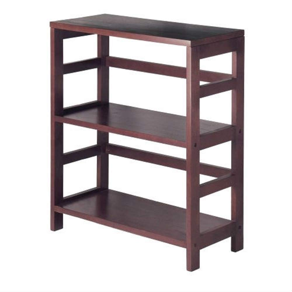 MyEasyShopping Contemporary 3-Tier Bookcase Storage Shelf in Espresso Wood Finish Adjustable Display Furniture Shelving New Tall