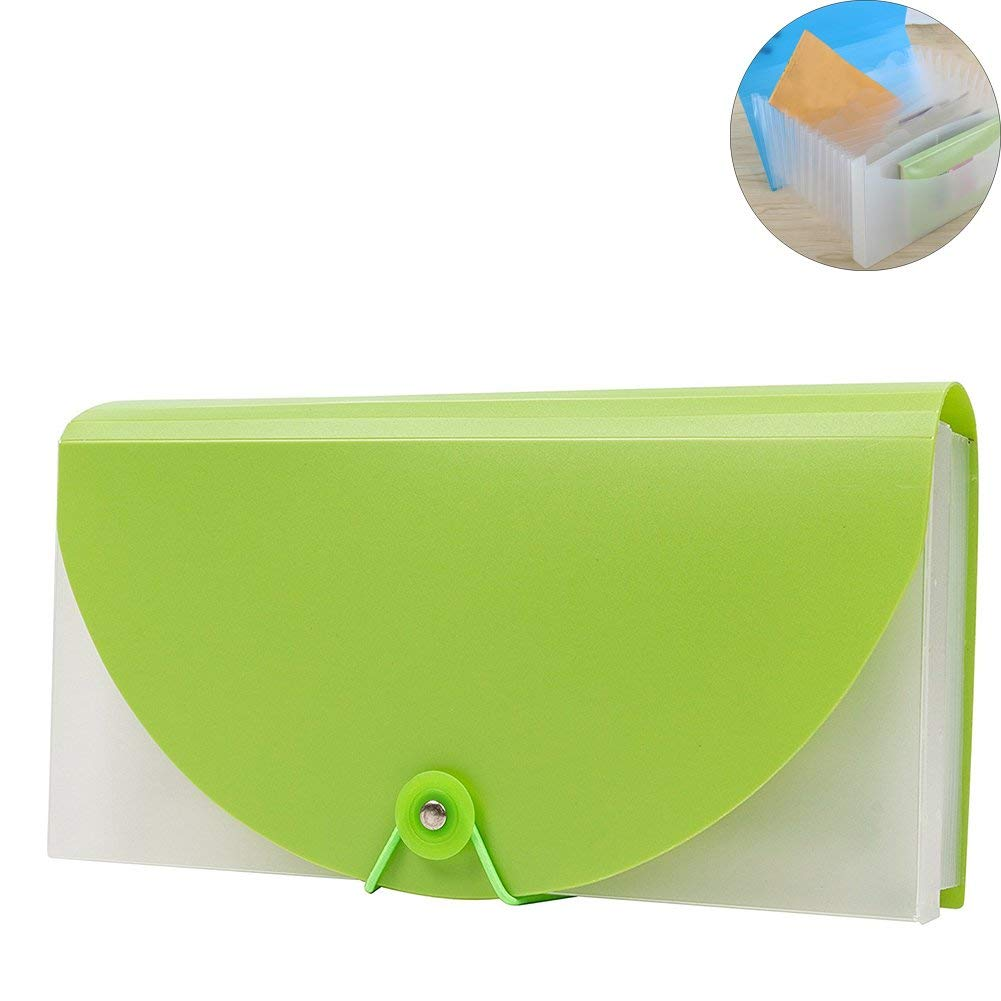 Lzttyee 13 Pocket Hand-Held Accordion File Folder Expandable Wallet File Storage Organizer for Bills Receipt Coupon (Green)
