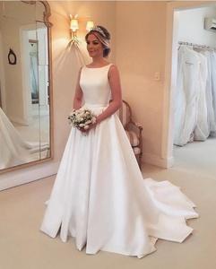 Simple Wedding Dresses With Big Bows Sleeveless A Line Satin Wedding Dress German Bridal Maxi Dress 2019 New Robe De Mariage