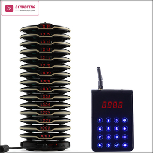 BYHUBYENG Restaurant Calling Device 15 Pagers+1 Charging Base+1 Transmitter CE FCC Long Range Distance 3000m Pager System