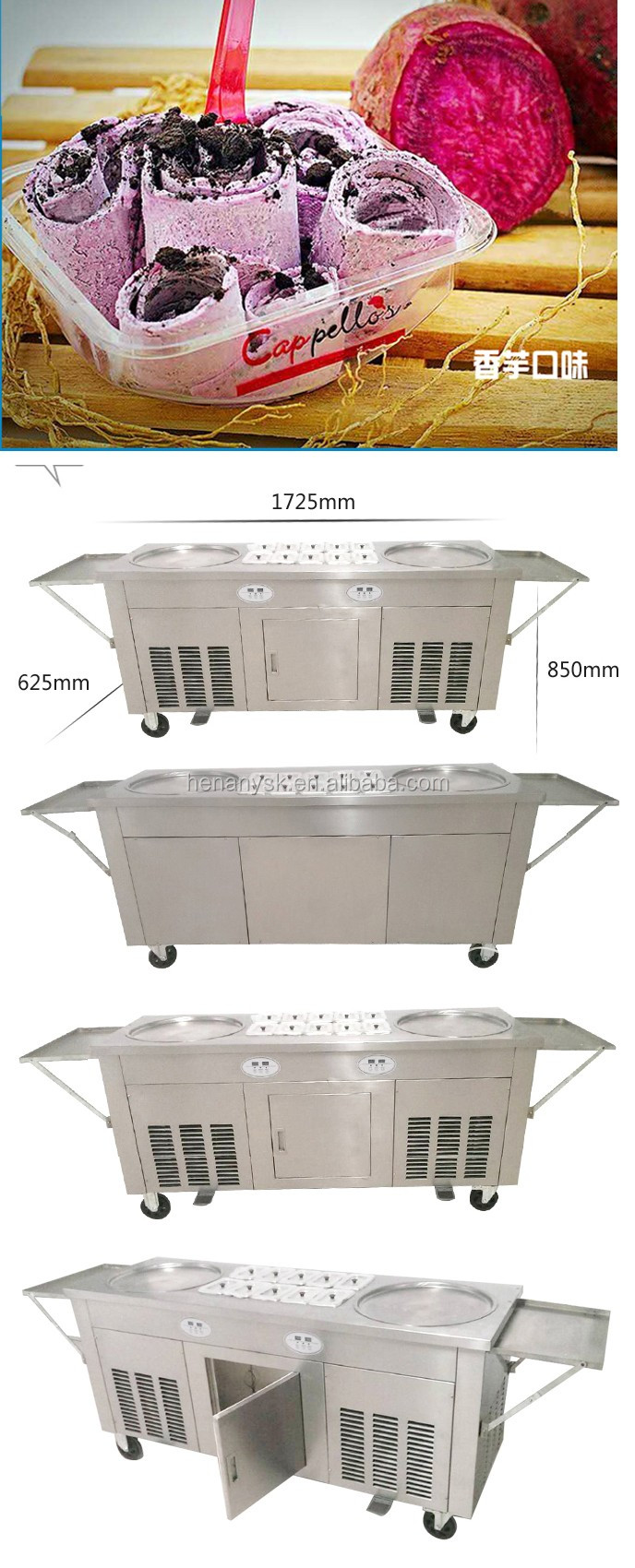 Double Round Pans 10 Topping Pans Ice Cream Ice Pan Roller Rolling Rolled Flat Fried Machine
