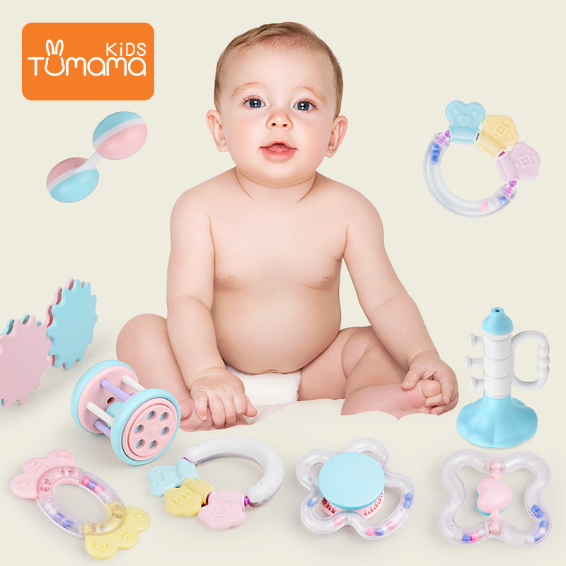 10PCS soft plastic musical wrist toy baby rattle pack