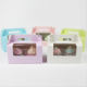 Food Grade Paper Cake Muffin Box With Window 2pc Cake Divider Box