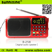 Mini altoparlante portatile con radio fm B-258 dell'automobile portatile mini speaker radiofonico cx-hx3