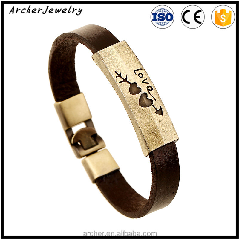 Hot Sell Heart Shape I love you Leather Bracelets For Lovers BH-119