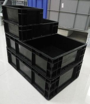 Black Industrial ESD Plastic Storage Bins Esd Box