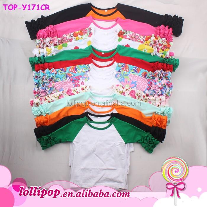 Baby Girls Toddler Kids T Shirts Icing Ruffle Shirt Raglan Tops Casual Clothes