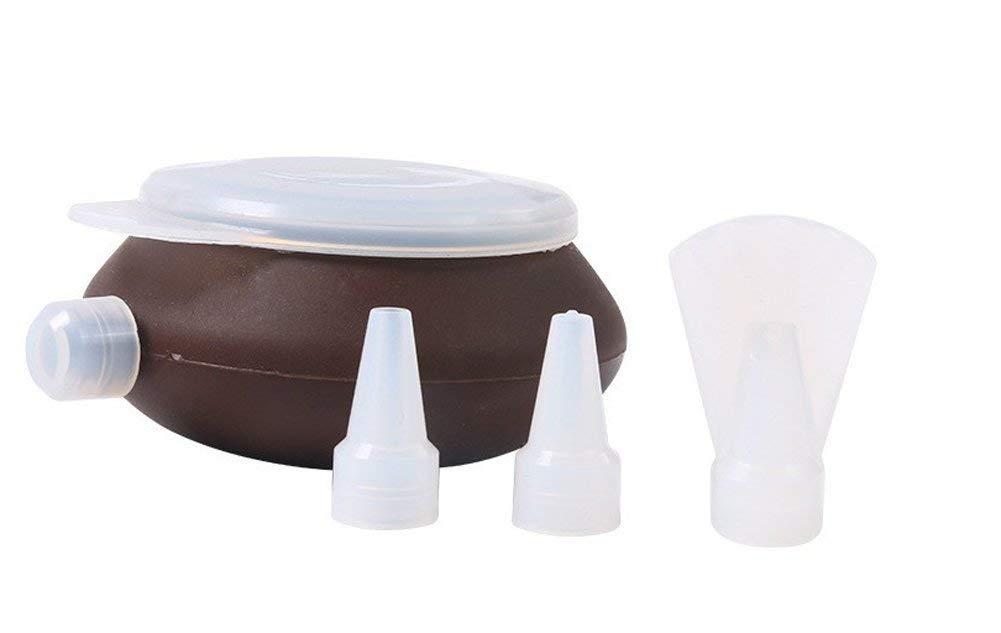 YIJIA Silicone Pastry Macaron Cake Decorating Pen with 1 cover&3 Nozzles Kit Set Fondant Cake Decorating Tools Set