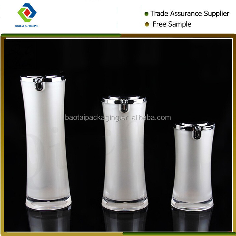 Round waist shape pear white color acrylic plastic cosmetic bottle
