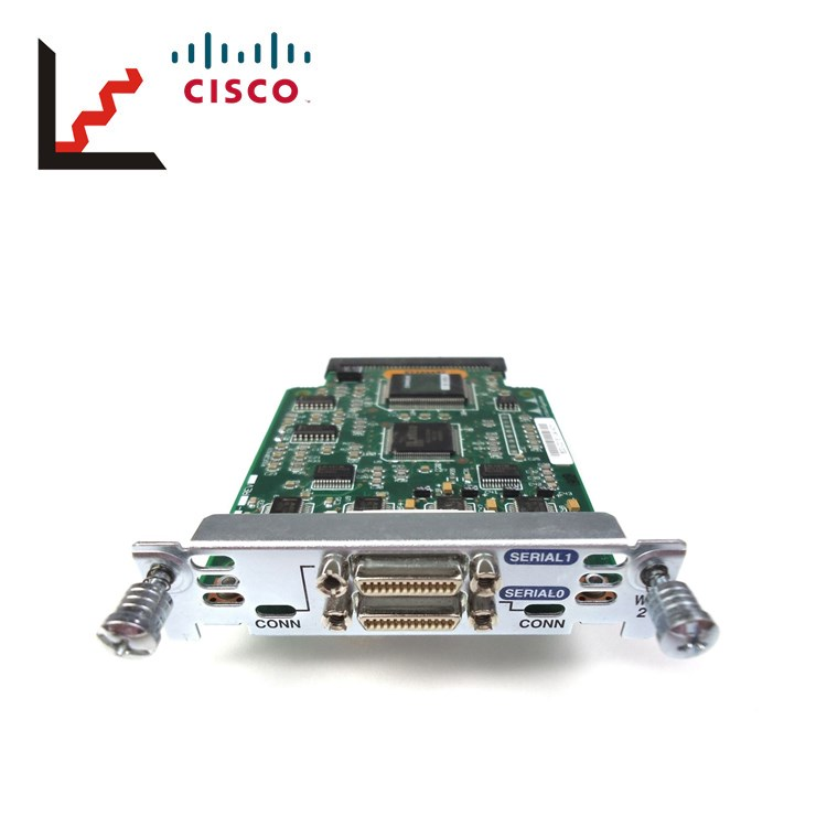 2 x Cisco WIC-2T 2-Port Serial WAN Interface Card w// CAB-SS-2626X-3FT Cable