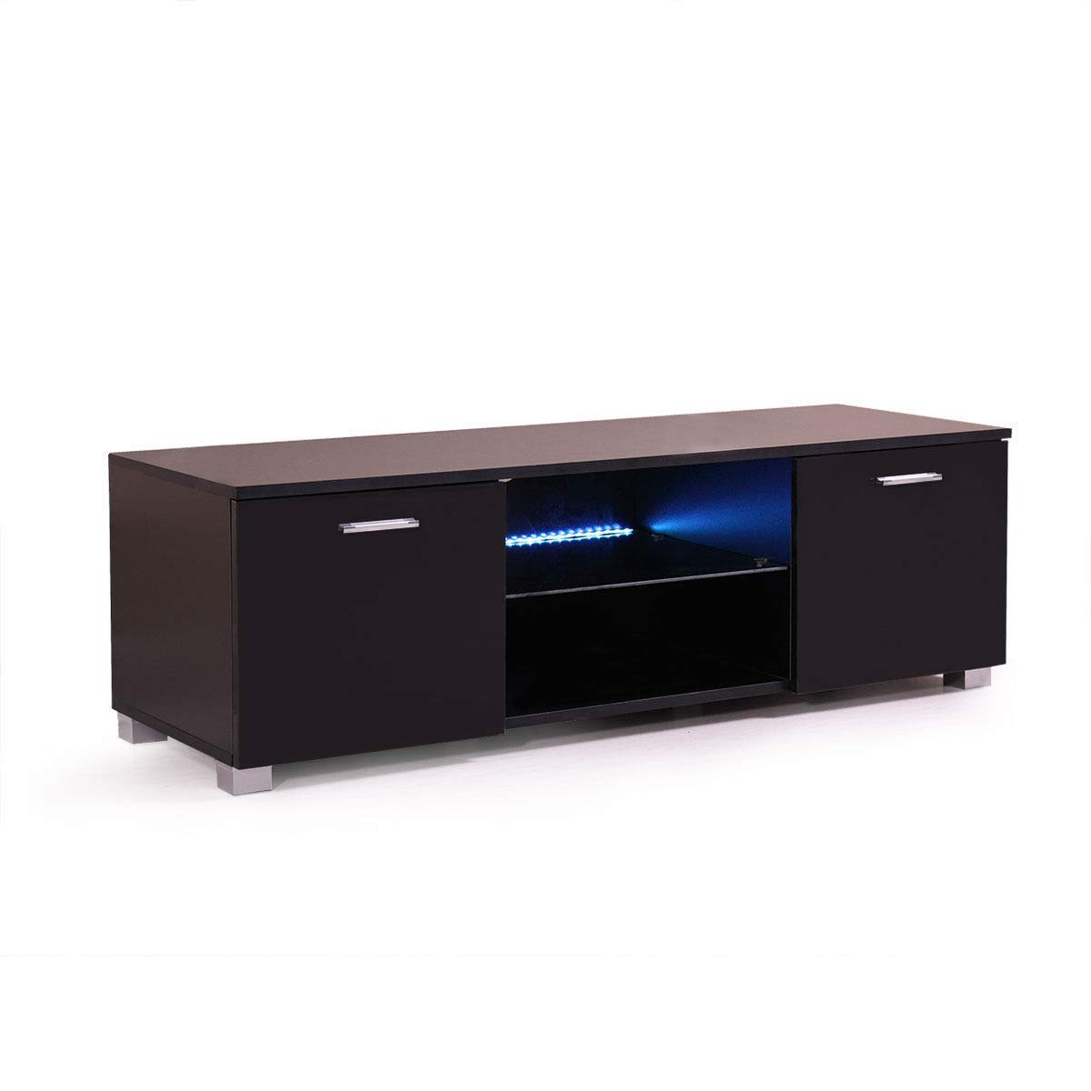 "Lapha'' 47"" Inch Black TV Stand Cabinet Console Furniture Led Unit Shelves Media Gloss Storage with LED Light Shelve Drawer Console High Gloss"