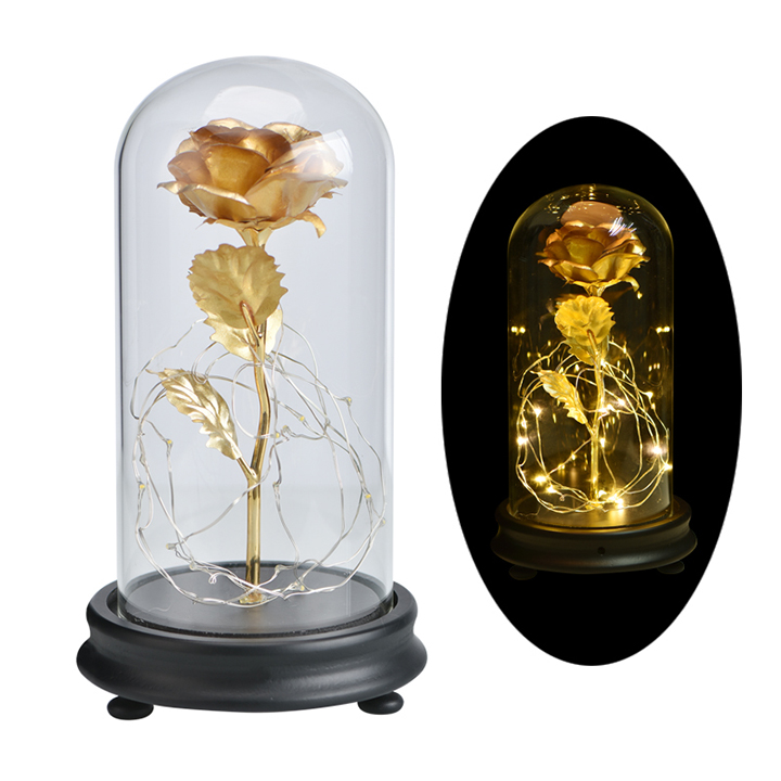 Hot Sale 24K Gold Foil Rose <strong>Flower</strong> Gold Foil Forever Rose <strong>Flower</strong> With Led Lights In Glass Dome for Valentines Day