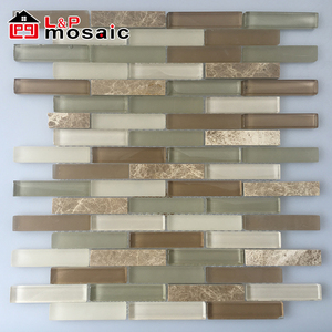 2018 USA Style Hot Sale Linear Emperador light Mix Glass Mosaic Tiles Backsplash for kitchen