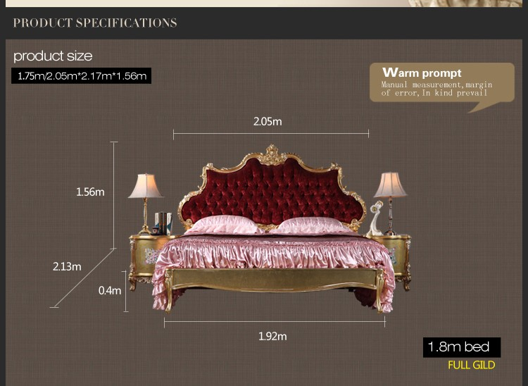 royal classic european furniture – solid wood baroque antique bed