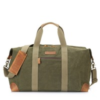 Retro Vintage Waxed Leather Canvas Duffle travel bag , Holdall Weekend Gym designer handbag