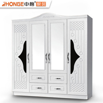 Eminem Modern Design White 4 Doors Bedroom Wall Cabinet Clothes Wardrobe  Wooden Almirah Designs With Mirror