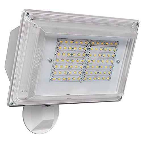 LED Flood Light 42 Watt Dusk to Dawn Photocell Sensor, 120V, 3500 Lumens, Security Light - White Finsh