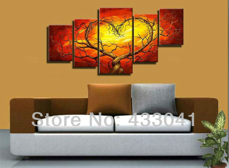 Canvas Wall Art Decor: Red Yellow Couple Lovers Heart Tree Art Canvas Painting