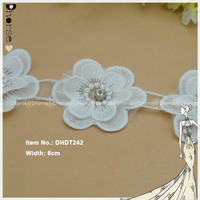 Chemical lace 3D flower applique crochet decorative lace trim with rhinestone
