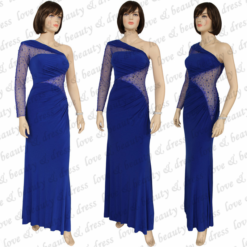 Long Blue Evening Dress One Shoulder Sheer Spandex Long Sleeve Formal Evening Gown Special Occasion Dress 2015 100% Real JL15020