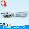 GCX brand 1m silver braided pvc outside wire gold plated av cable for smartphone