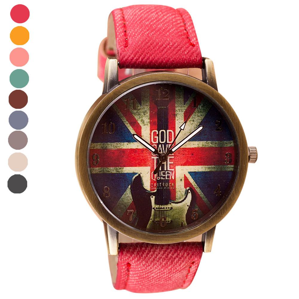 Lover's Watches 2018 New Fashion Brand Unisex Watches Women Men Casual Quartz Sports Watch Denim Fabric Uk Flag Wrist Watches Relogio Clock Gift 100% Original
