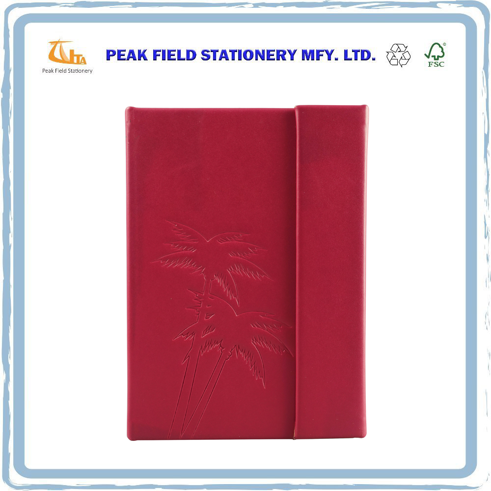 Office Stationery A5 Embossed Design Sewing Pu Leather Journal Notebook