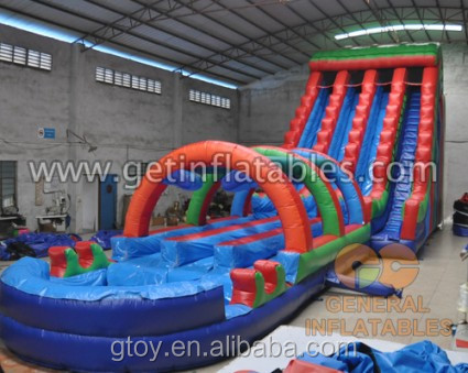 High Quality Giant Triple slide slip with pool Commercial 0.55mm PVC water game