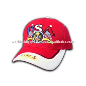 Mens cotton twill embroidery red white fitted golf cap