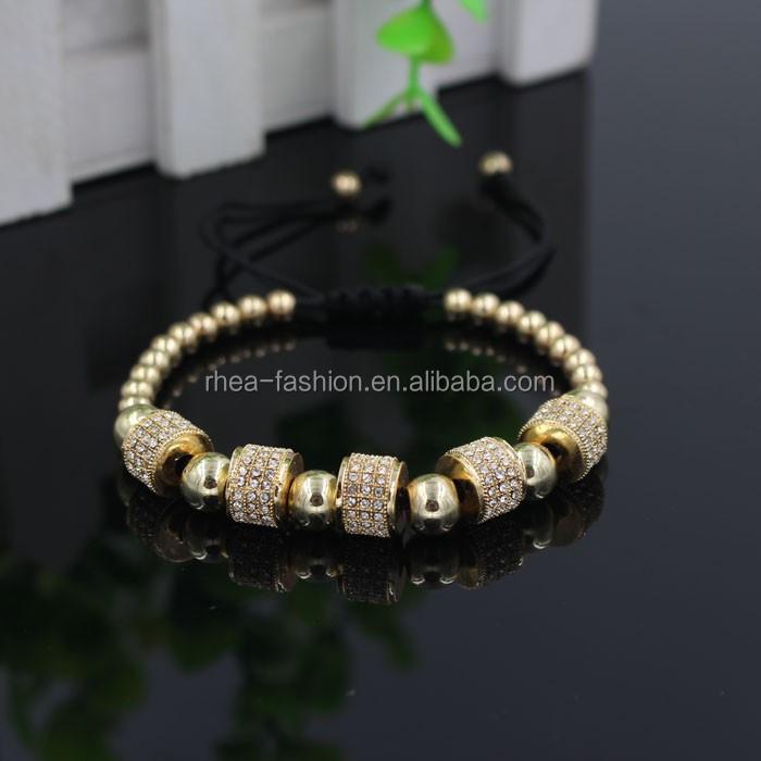 6fda1a2ce5e6 Al por mayor 18 K oro ajustable hombres pulsera micro Pave negro CZ Crystal  macrame weave