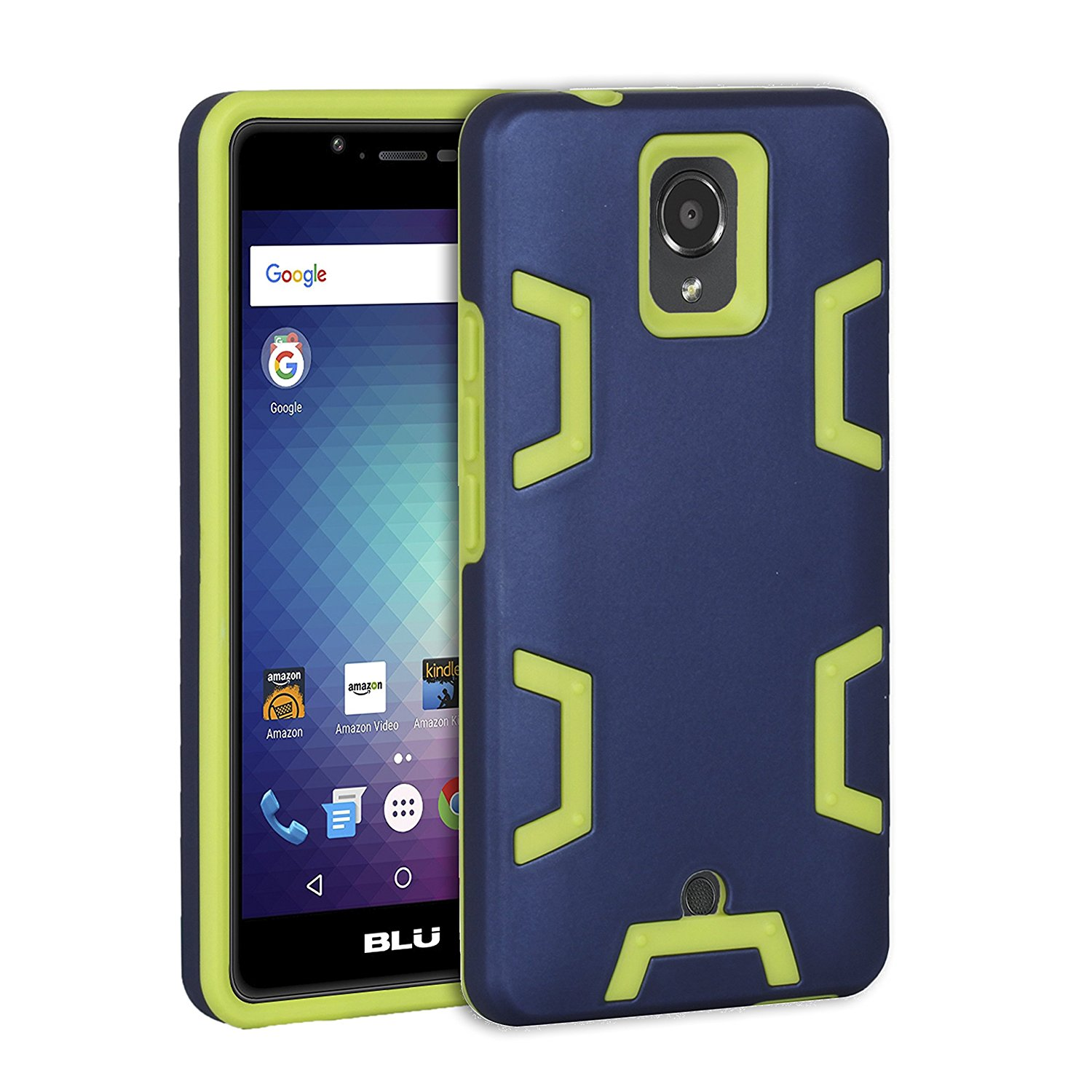 BLU R1 HD Case,Sokad Shockproof Anti-impact Hybrid Hard PC With Soft Rubber Bumper TPU Protective Case Cover for BLU R1 HD-Navy&Yellow