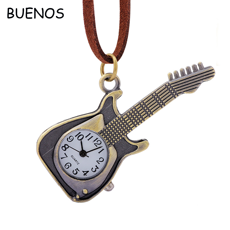 Small Vintage Ancient Exquisite Bronze Guitar Girls Gift Box Pocket Watch