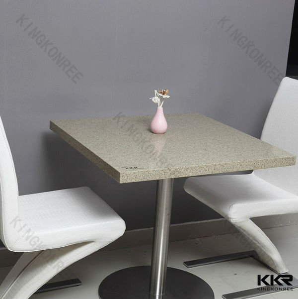 White Quartz Stone Top Dining Table Basesquare Two Seat Table And