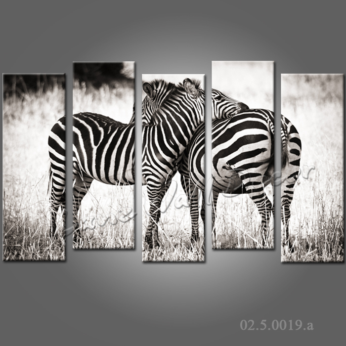 no frame canvas only 5 pieces 150x95cm wall art black and white style two zebras animal painting. Black Bedroom Furniture Sets. Home Design Ideas